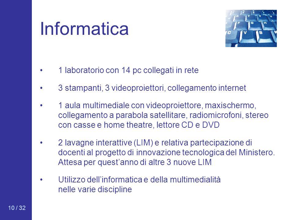 10 / 32 Informatica 1 laboratorio con 14 pc collegati in rete 3 stampanti, 3 videoproiettori, collegamento internet 1 aula multimediale con videoproie