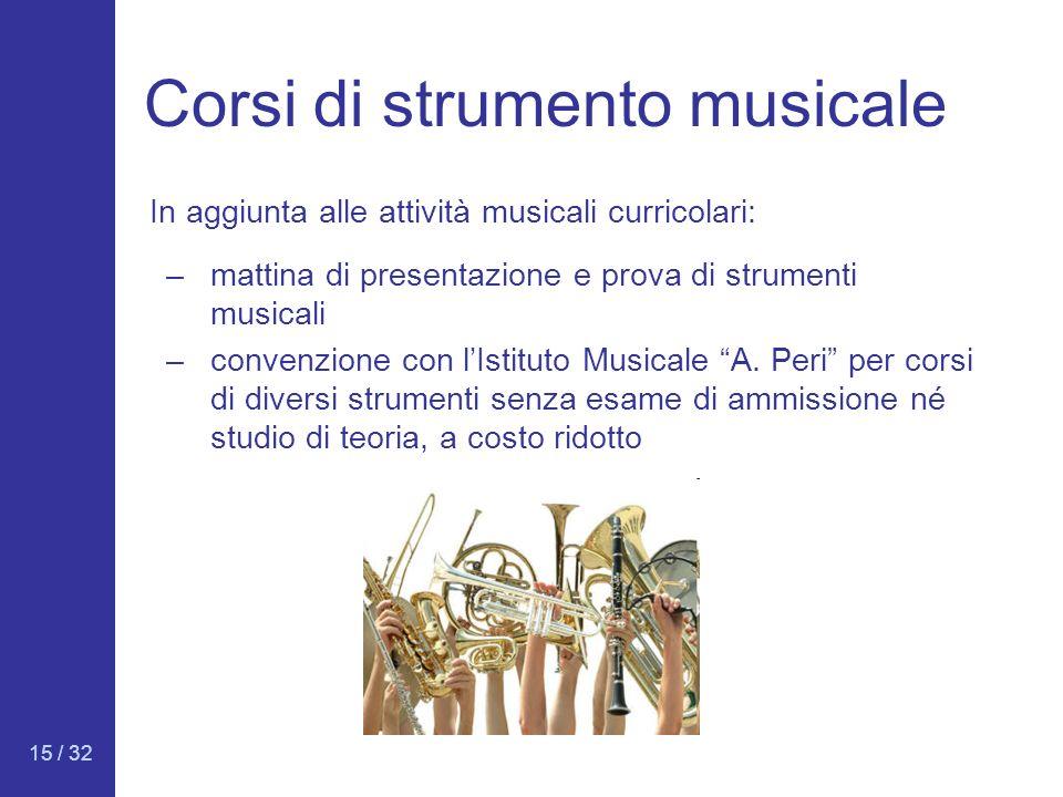 15 / 32 Corsi di strumento musicale –mattina di presentazione e prova di strumenti musicali –convenzione con lIstituto Musicale A. Peri per corsi di d