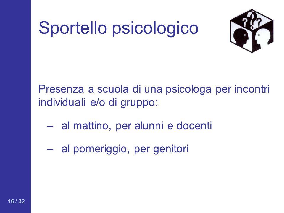 16 / 32 Sportello psicologico Presenza a scuola di una psicologa per incontri individuali e/o di gruppo: –al mattino, per alunni e docenti –al pomerig