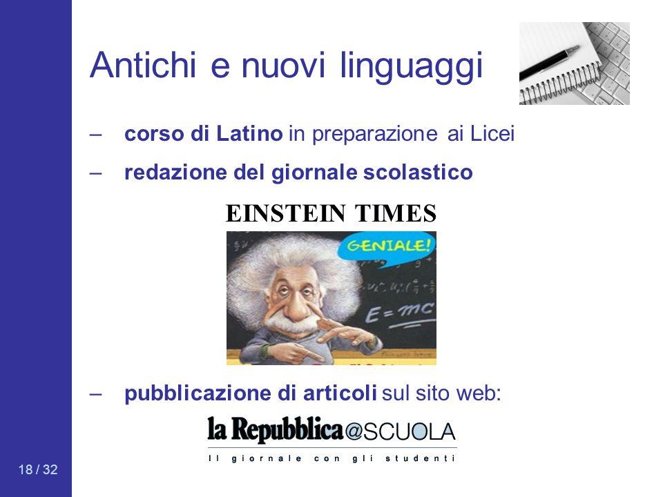18 / 32 Antichi e nuovi linguaggi –redazione del giornale scolastico EINSTEIN TIMES –corso di Latino in preparazione ai Licei –pubblicazione di artico