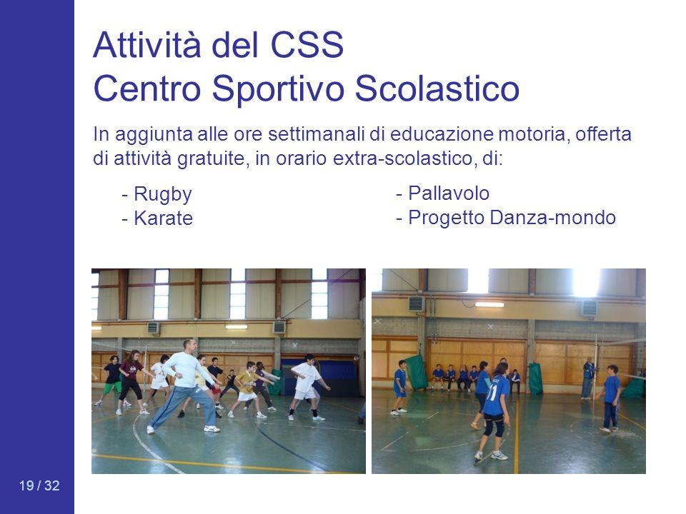 19 / 32 Attività del CSS Centro Sportivo Scolastico - Rugby - Karate In aggiunta alle ore settimanali di educazione motoria, offerta di attività gratu