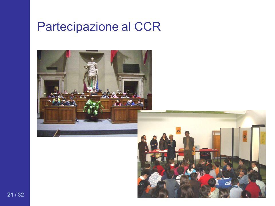 21 / 32 Partecipazione al CCR