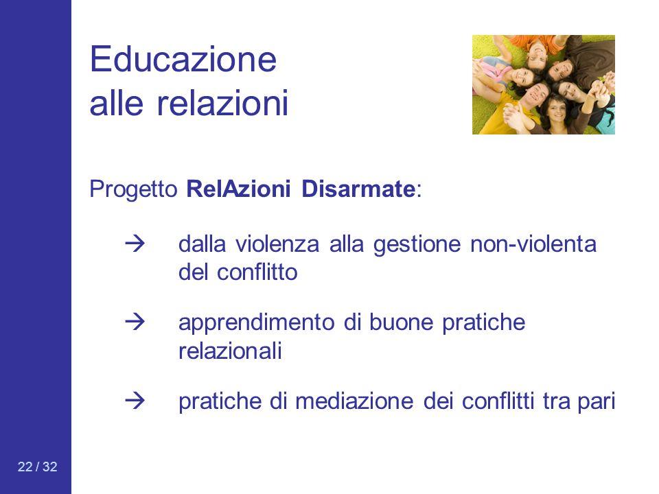 22 / 32 Educazione alle relazioni Progetto RelAzioni Disarmate: dalla violenza alla gestione non-violenta del conflitto apprendimento di buone pratich