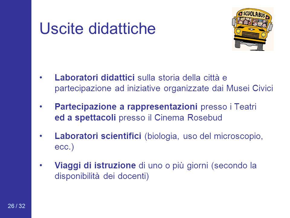 26 / 32 Uscite didattiche Laboratori didattici sulla storia della città e partecipazione ad iniziative organizzate dai Musei Civici Partecipazione a r
