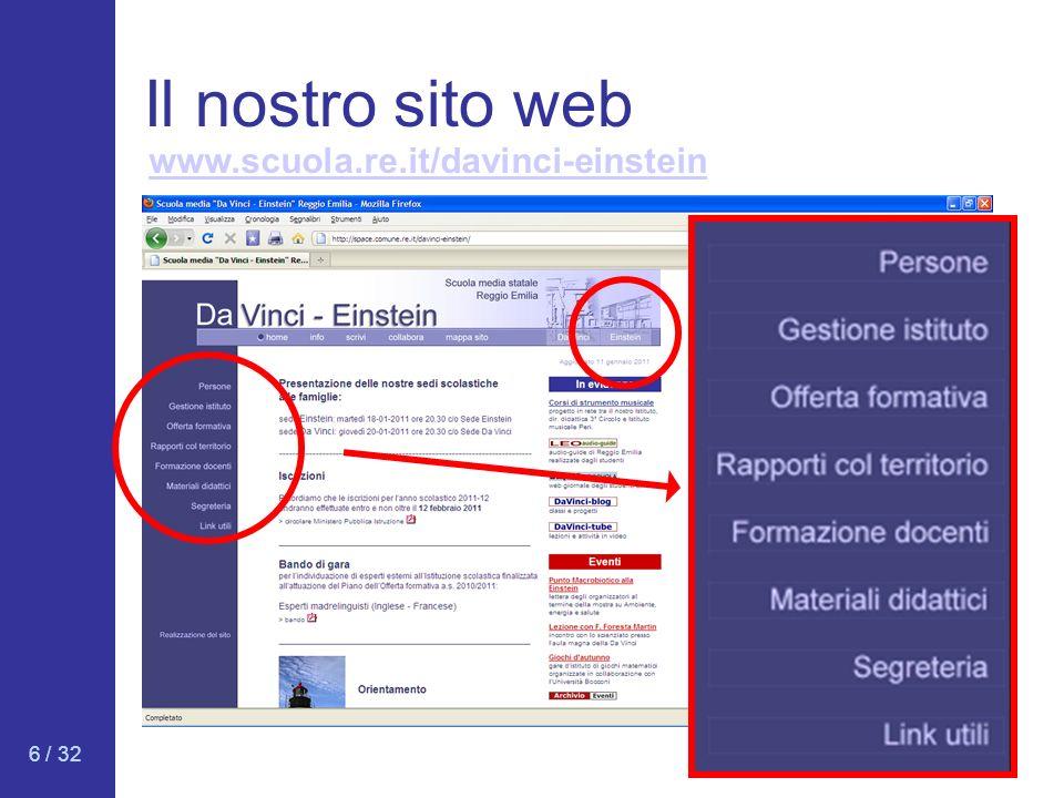 6 / 32 Il nostro sito web www.scuola.re.it/davinci-einstein