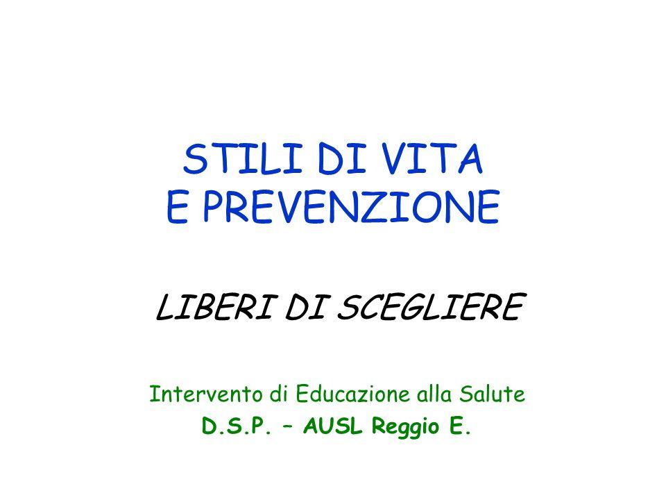 STILI DI VITA E PREVENZIONE LIBERI DI SCEGLIERE Intervento di Educazione alla Salute D.S.P. – AUSL Reggio E.