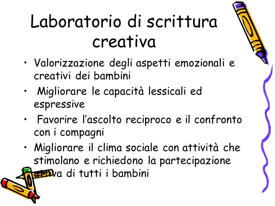 Laboratorio di scrittura creativa Valorizzazione degli aspetti emozionali e creativi dei bambini Migliorare le capacità lessicali ed espressive Favori