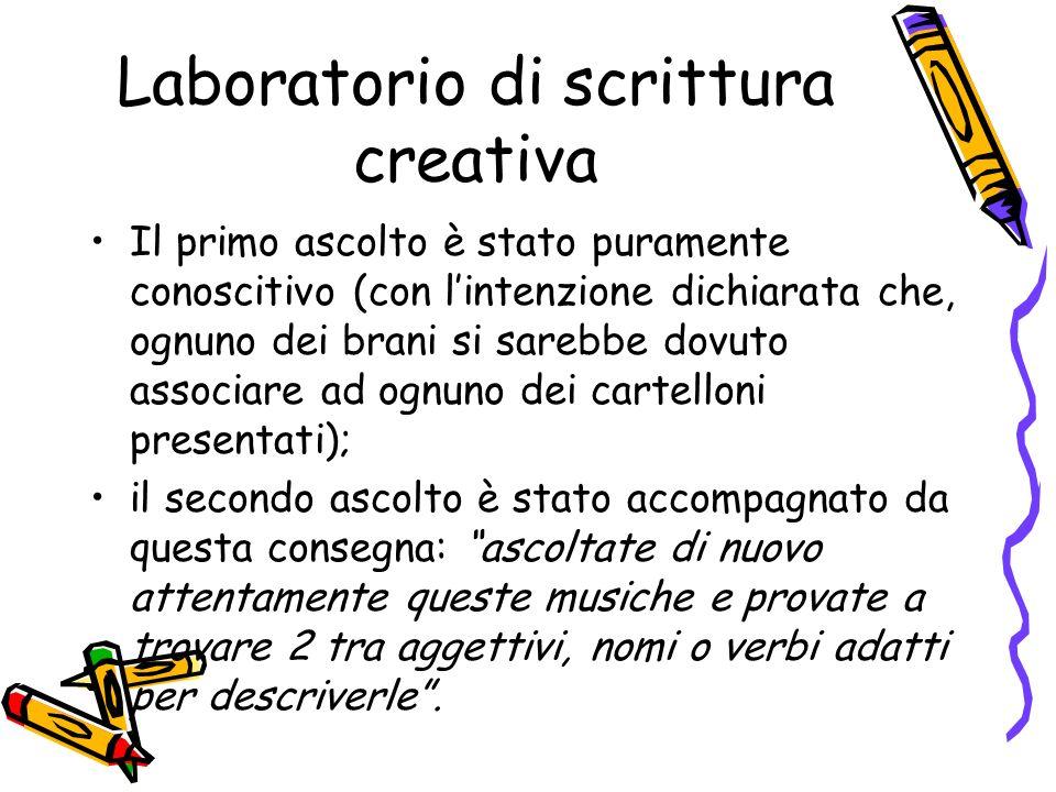 Laboratorio di scrittura creativa Il primo ascolto è stato puramente conoscitivo (con lintenzione dichiarata che, ognuno dei brani si sarebbe dovuto a