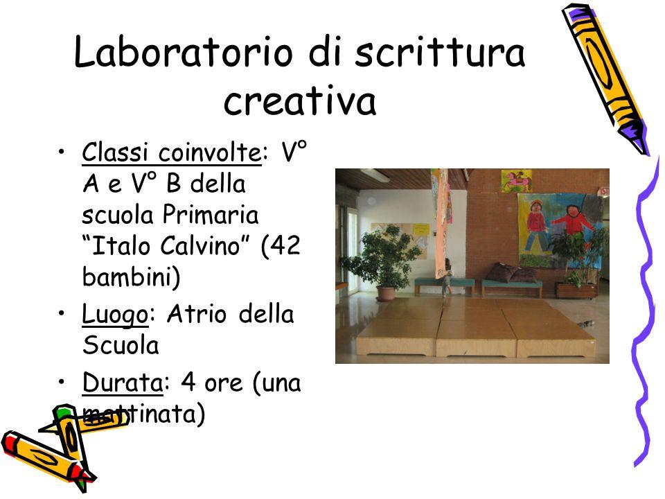 Laboratorio di scrittura creativa Classi coinvolte: V° A e V° B della scuola Primaria Italo Calvino (42 bambini) Luogo: Atrio della Scuola Durata: 4 o