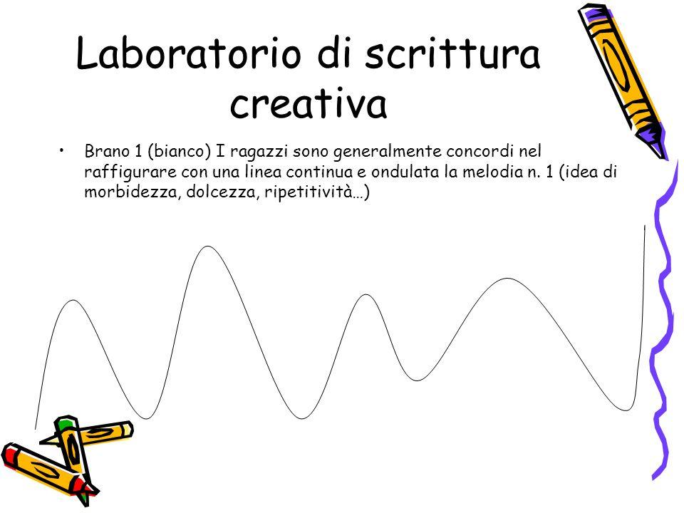 Laboratorio di scrittura creativa Brano 1 (bianco) I ragazzi sono generalmente concordi nel raffigurare con una linea continua e ondulata la melodia n
