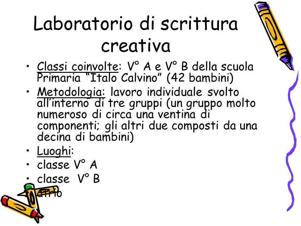 Laboratorio di scrittura creativa Classi coinvolte: V° A e V° B della scuola Primaria Italo Calvino (42 bambini) Metodologia: lavoro individuale svolt