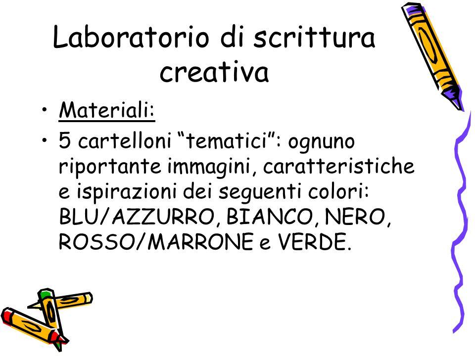 Laboratorio di scrittura creativa Materiali: 5 cartelloni tematici: ognuno riportante immagini, caratteristiche e ispirazioni dei seguenti colori: BLU