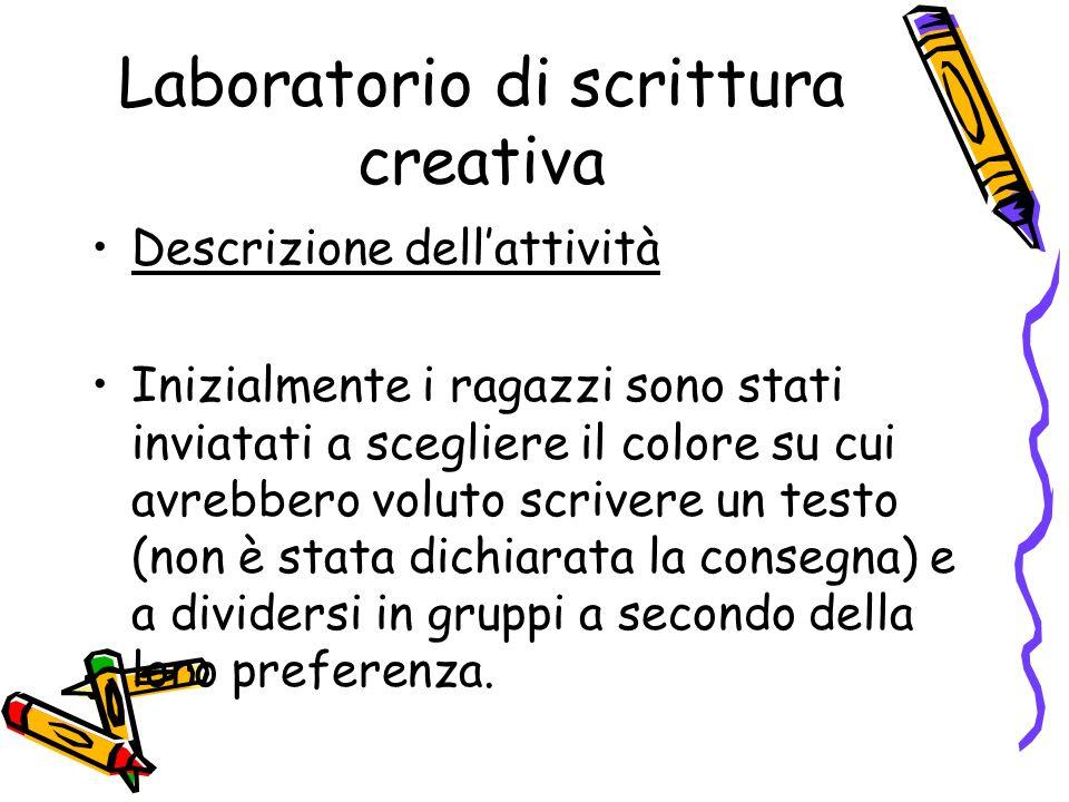 Laboratorio di scrittura creativa Descrizione dellattività Inizialmente i ragazzi sono stati inviatati a scegliere il colore su cui avrebbero voluto s