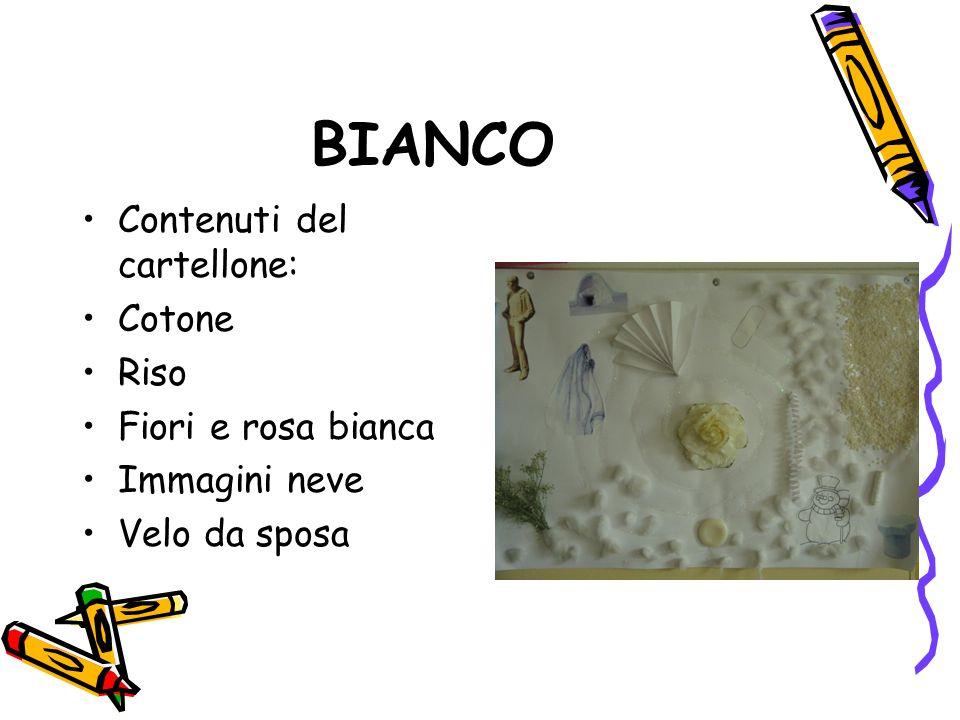 BIANCO Contenuti del cartellone: Cotone Riso Fiori e rosa bianca Immagini neve Velo da sposa