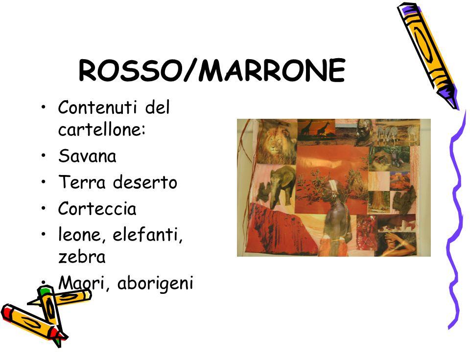 ROSSO/MARRONE Contenuti del cartellone: Savana Terra deserto Corteccia leone, elefanti, zebra Maori, aborigeni