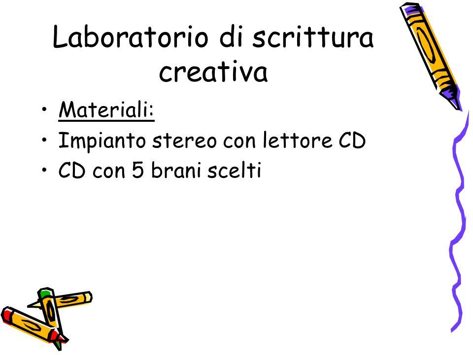 Laboratorio di scrittura creativa Materiali: Impianto stereo con lettore CD CD con 5 brani scelti
