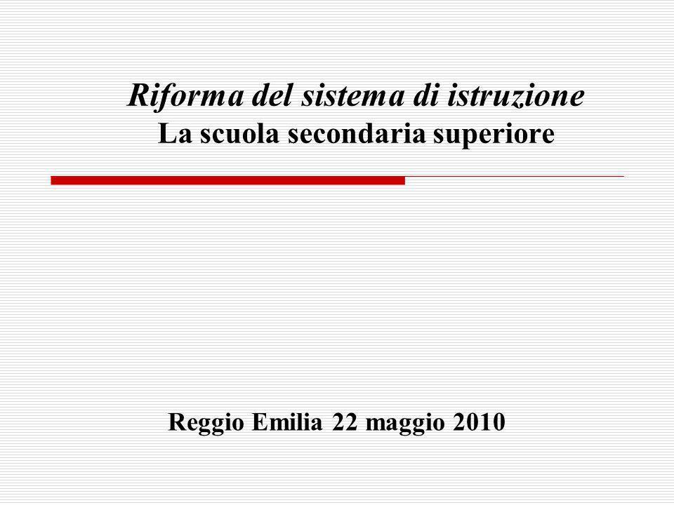Riforma del sistema di istruzione La scuola secondaria superiore Reggio Emilia 22 maggio 2010