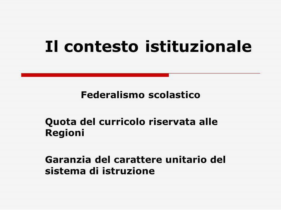 Il contesto istituzionale Federalismo scolastico Quota del curricolo riservata alle Regioni Garanzia del carattere unitario del sistema di istruzione