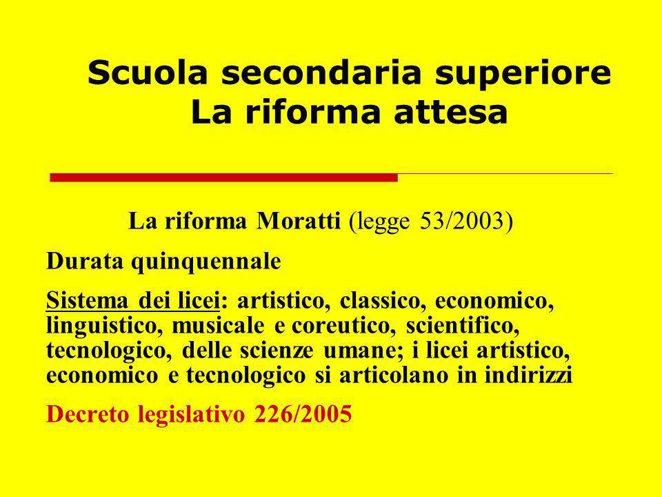 Scuola secondaria superiore La riforma attesa La riforma Moratti (legge 53/2003) Durata quinquennale Sistema dei licei: artistico, classico, economico