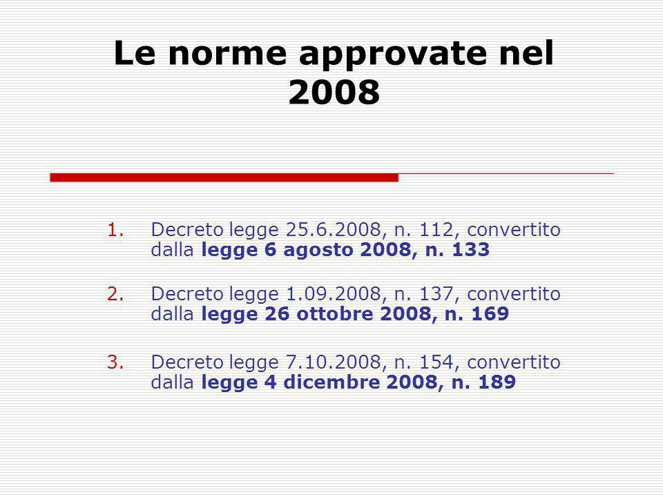 Le norme approvate nel 2008 1.Decreto legge 25.6.2008, n. 112, convertito dalla legge 6 agosto 2008, n. 133 2.Decreto legge 1.09.2008, n. 137, convert