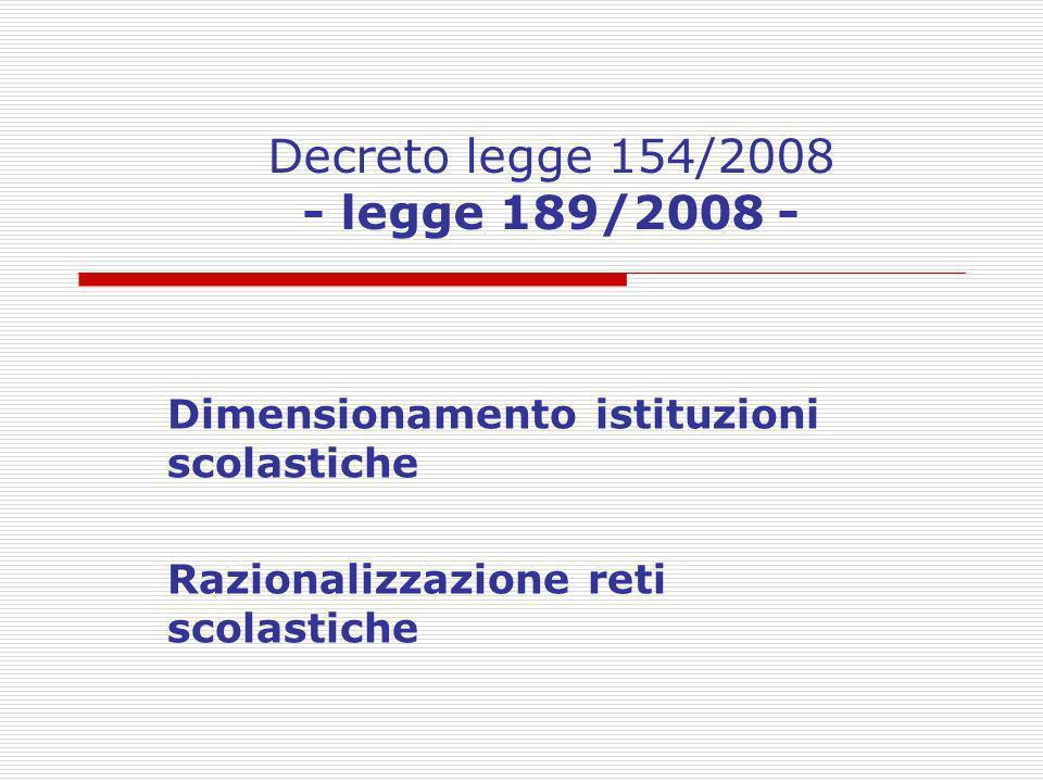 Decreto legge 154/2008 - legge 189/2008 - Dimensionamento istituzioni scolastiche Razionalizzazione reti scolastiche