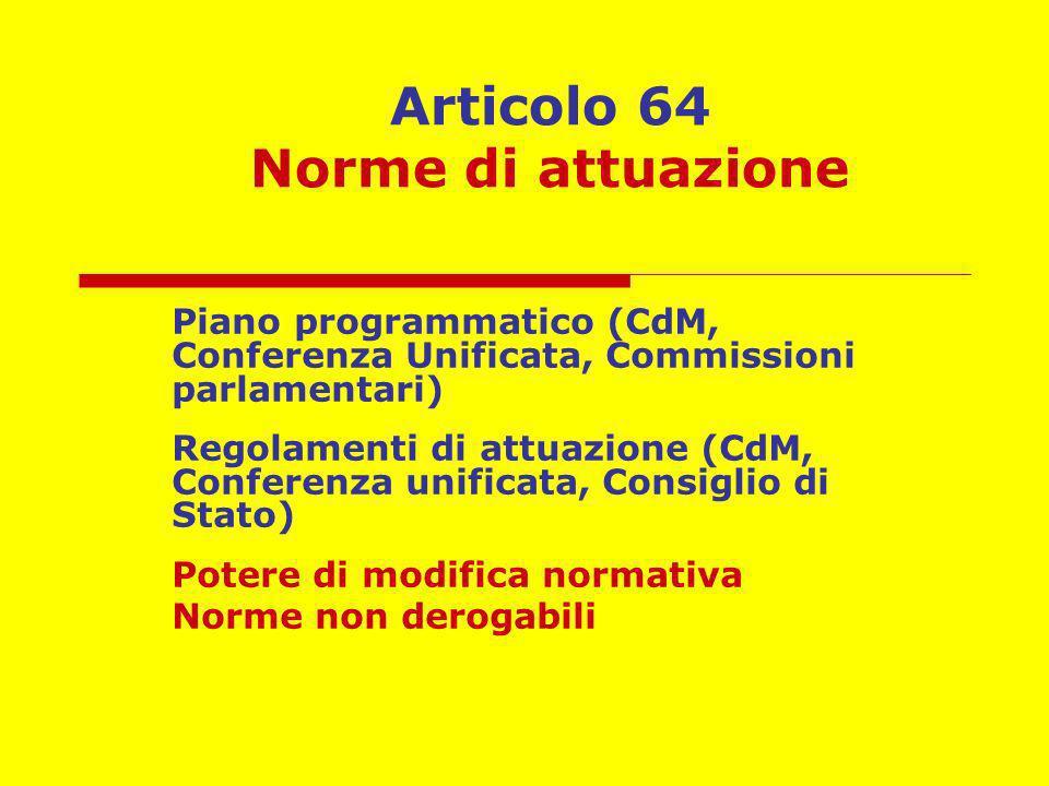 Articolo 64 Norme di attuazione Piano programmatico (CdM, Conferenza Unificata, Commissioni parlamentari) Regolamenti di attuazione (CdM, Conferenza u
