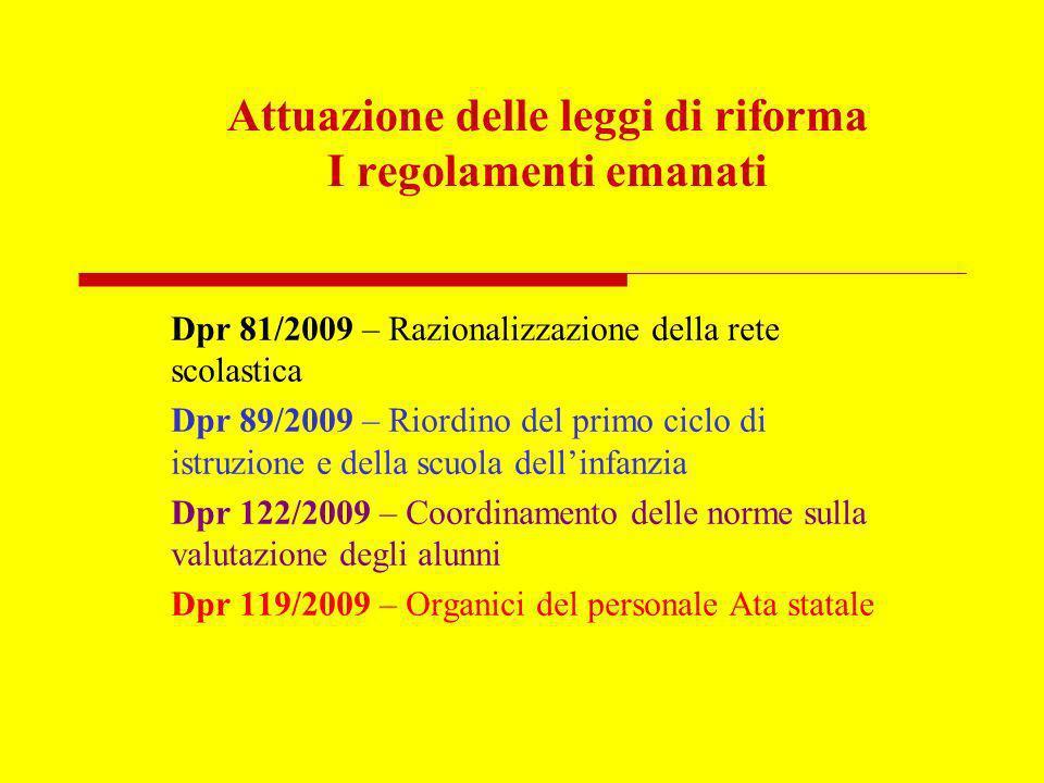 Attuazione delle leggi di riforma I regolamenti emanati Dpr 81/2009 – Razionalizzazione della rete scolastica Dpr 89/2009 – Riordino del primo ciclo d