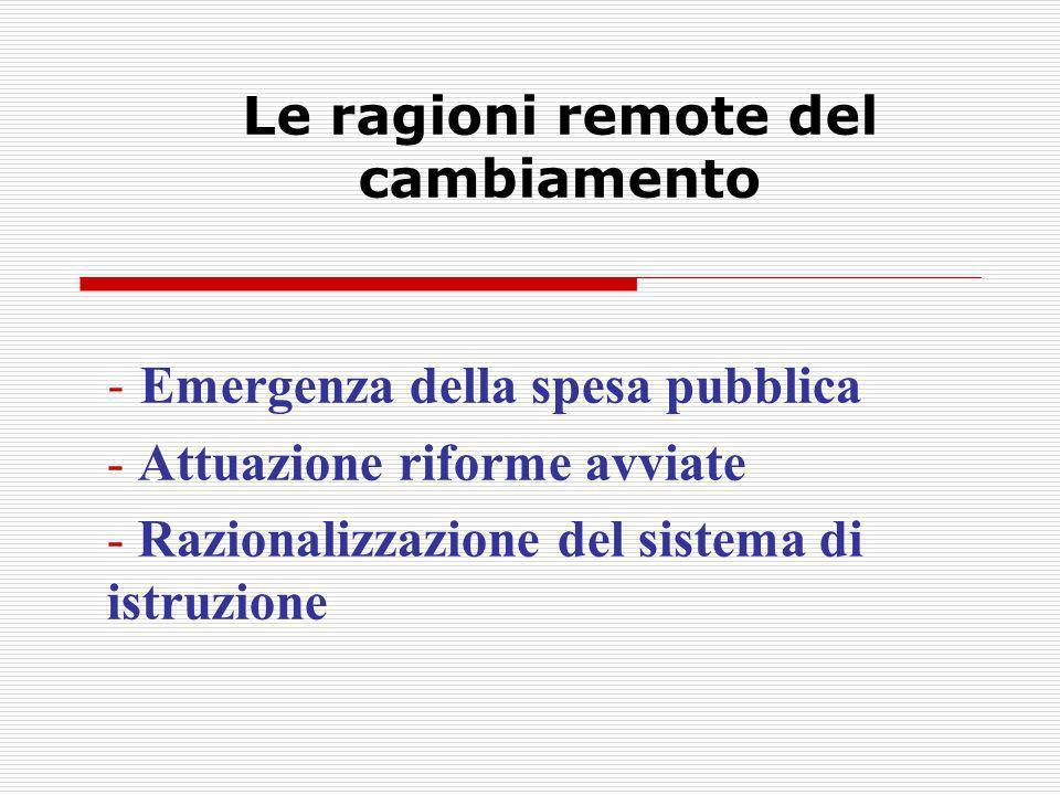 - Emergenza della spesa pubblica - Attuazione riforme avviate - Razionalizzazione del sistema di istruzione
