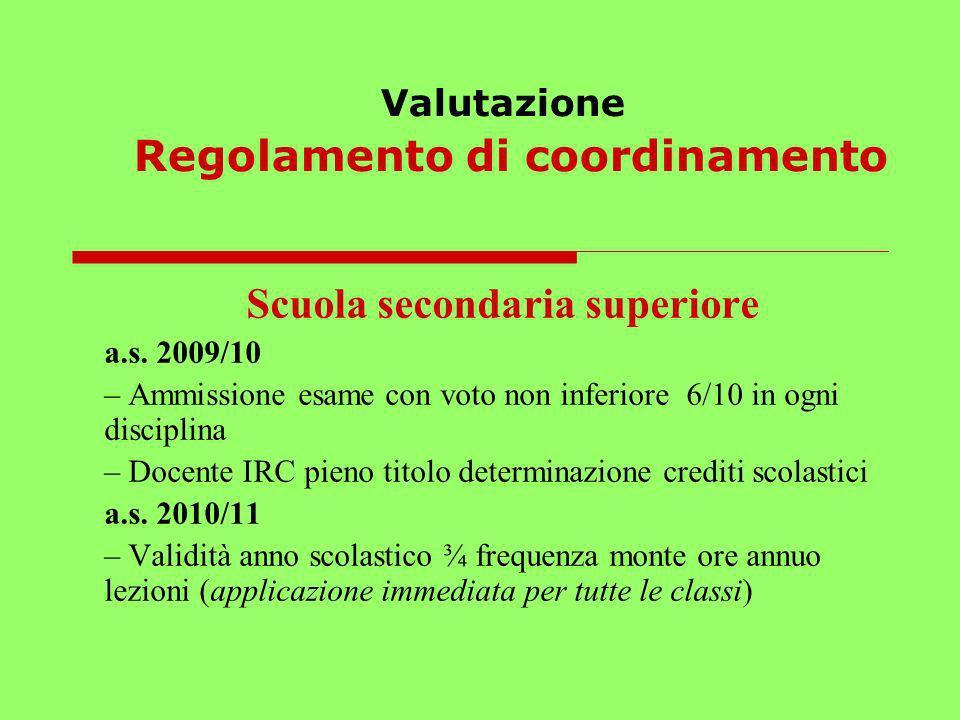 Valutazione Regolamento di coordinamento Scuola secondaria superiore a.s. 2009/10 – Ammissione esame con voto non inferiore 6/10 in ogni disciplina –
