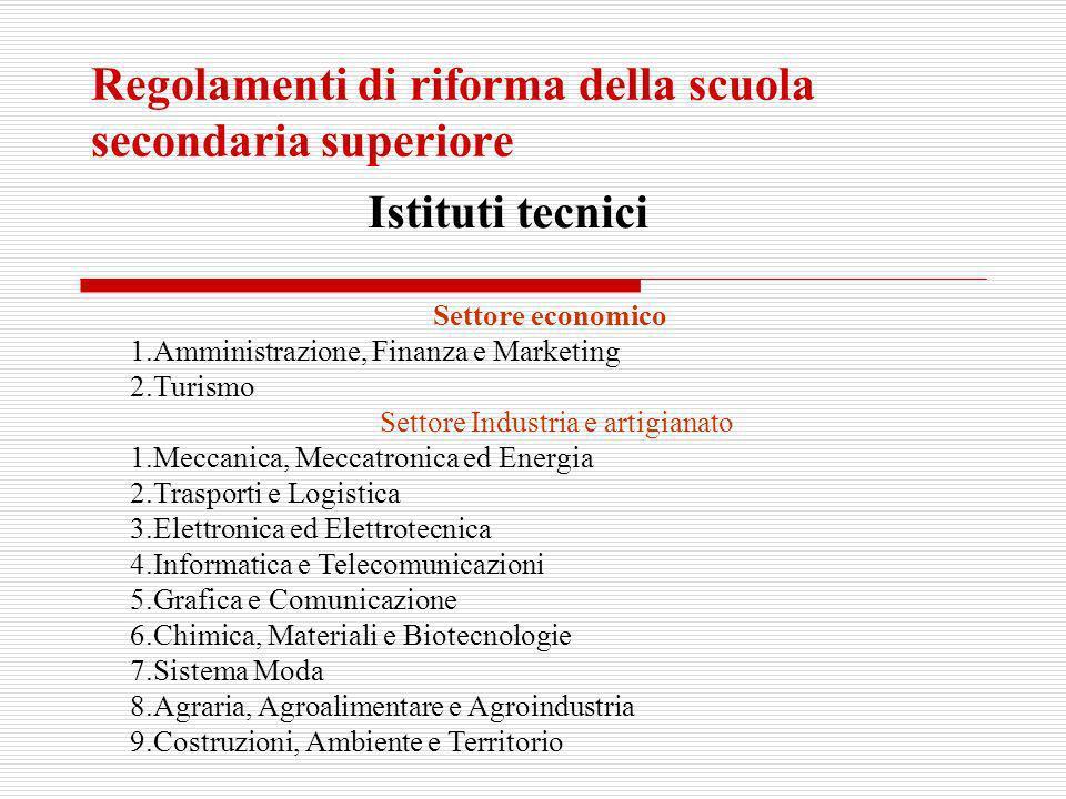 Regolamenti di riforma della scuola secondaria superiore Istituti tecnici Settore economico 1.Amministrazione, Finanza e Marketing 2.Turismo Settore I