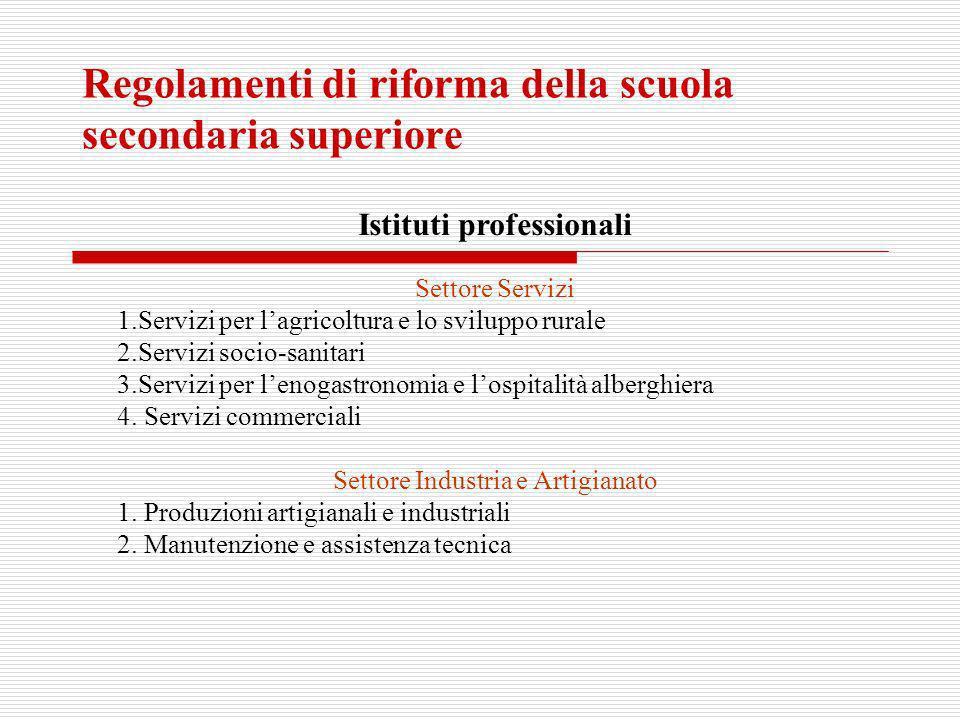 Regolamenti di riforma della scuola secondaria superiore Istituti professionali Settore Servizi 1.Servizi per lagricoltura e lo sviluppo rurale 2.Serv