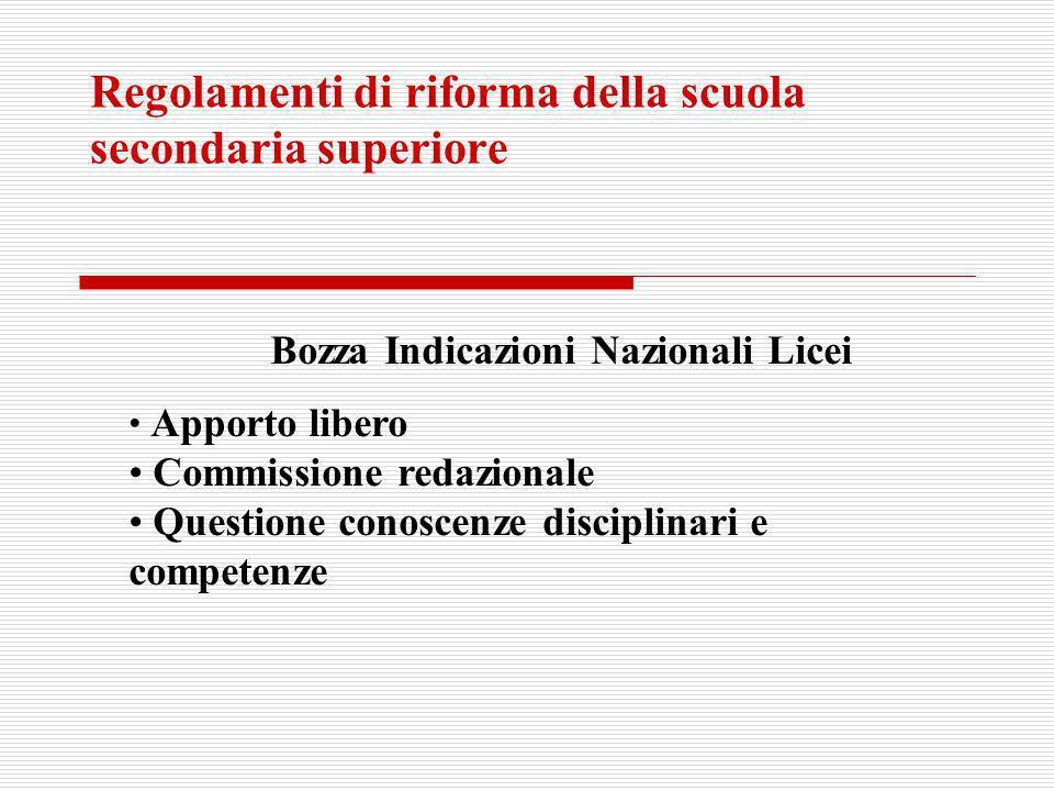 Regolamenti di riforma della scuola secondaria superiore Bozza Indicazioni Nazionali Licei Apporto libero Commissione redazionale Questione conoscenze