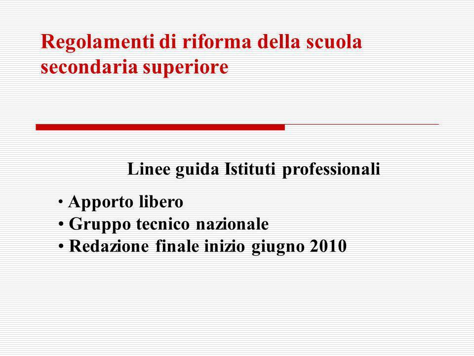 Regolamenti di riforma della scuola secondaria superiore Linee guida Istituti professionali Apporto libero Gruppo tecnico nazionale Redazione finale i