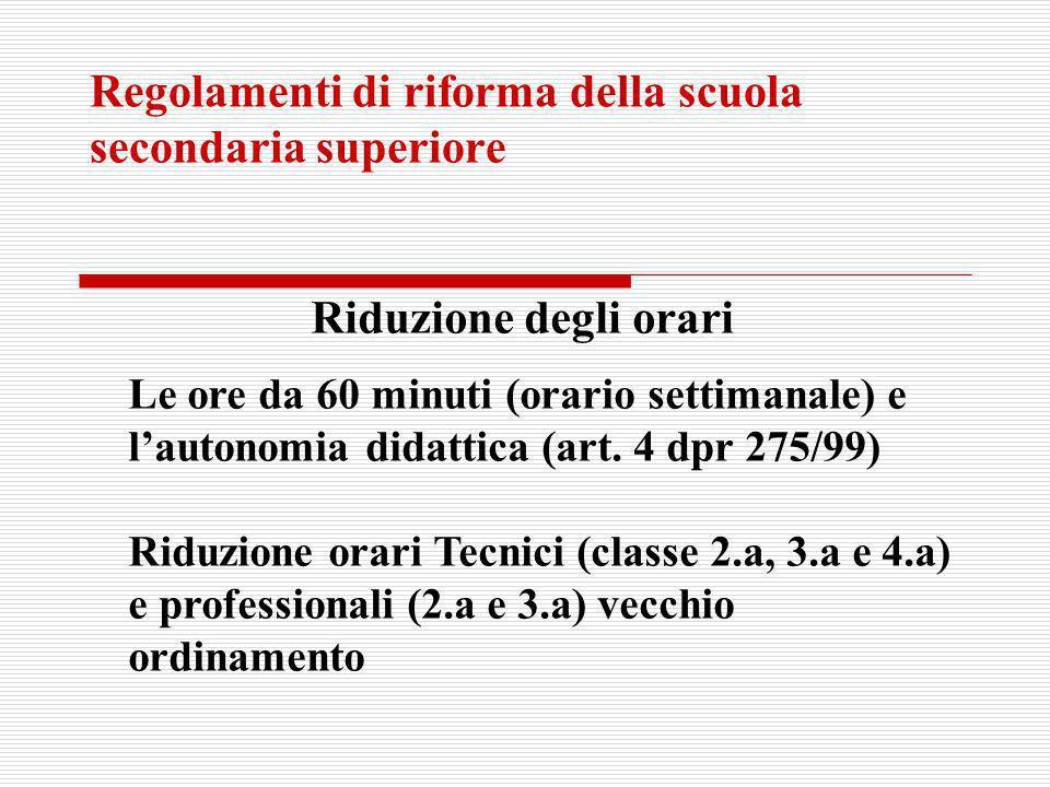 Regolamenti di riforma della scuola secondaria superiore Riduzione degli orari Le ore da 60 minuti (orario settimanale) e lautonomia didattica (art. 4