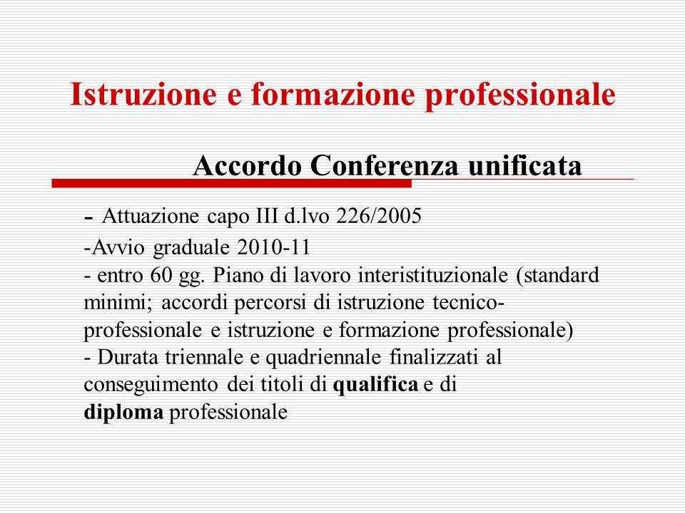 Istruzione e formazione professionale Accordo Conferenza unificata - Attuazione capo III d.lvo 226/2005 -Avvio graduale 2010-11 - entro 60 gg. Piano d