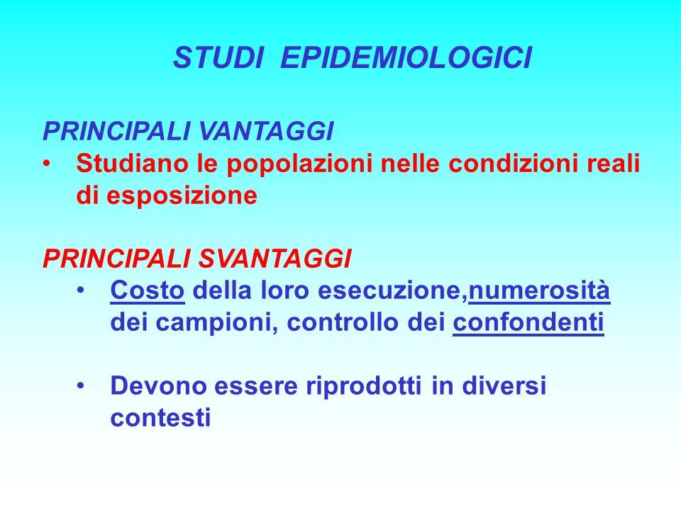 STUDI EPIDEMIOLOGICI PRINCIPALI VANTAGGI Studiano le popolazioni nelle condizioni reali di esposizione PRINCIPALI SVANTAGGI Costo della loro esecuzion