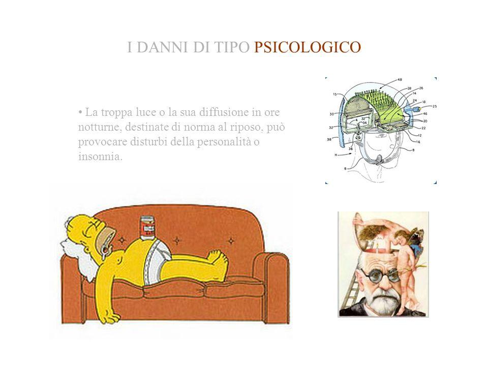 I DANNI DI TIPO PSICOLOGICO La troppa luce o la sua diffusione in ore notturne, destinate di norma al riposo, può provocare disturbi della personalità