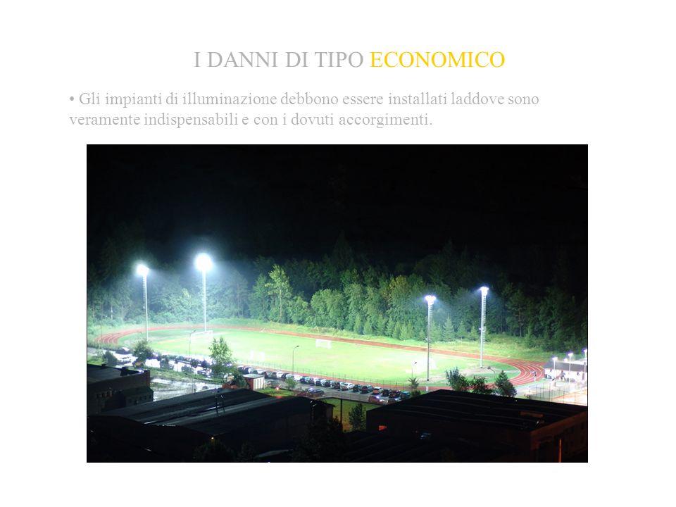 Gli impianti di illuminazione debbono essere installati laddove sono veramente indispensabili e con i dovuti accorgimenti. I DANNI DI TIPO ECONOMICO