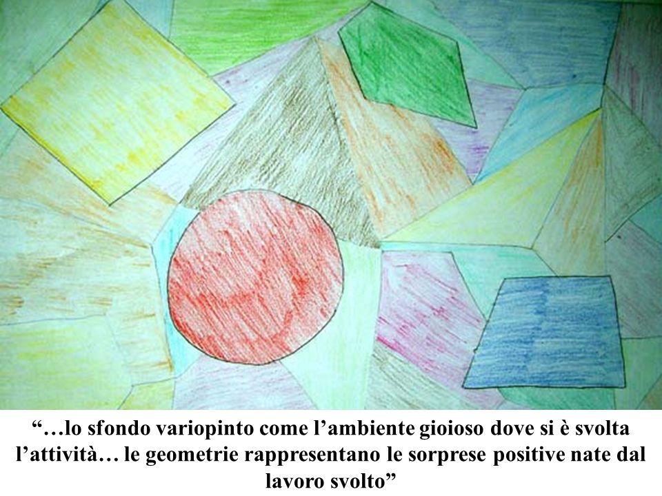 …lo sfondo variopinto come lambiente gioioso dove si è svolta lattività… le geometrie rappresentano le sorprese positive nate dal lavoro svolto