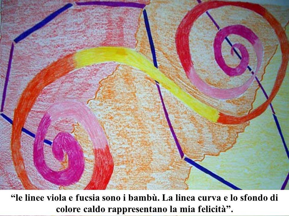 le linee viola e fucsia sono i bambù. La linea curva e lo sfondo di colore caldo rappresentano la mia felicità.