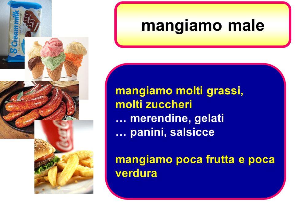 mangiamo male mangiamo molti grassi, molti zuccheri … merendine, gelati … panini, salsicce mangiamo poca frutta e poca verdura