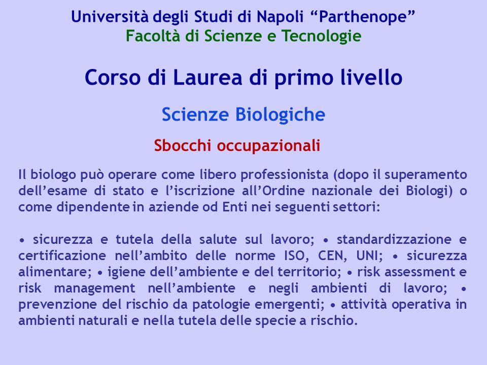 Corso di Laurea di primo livello Scienze Biologiche Il biologo può operare come libero professionista (dopo il superamento dellesame di stato e liscri