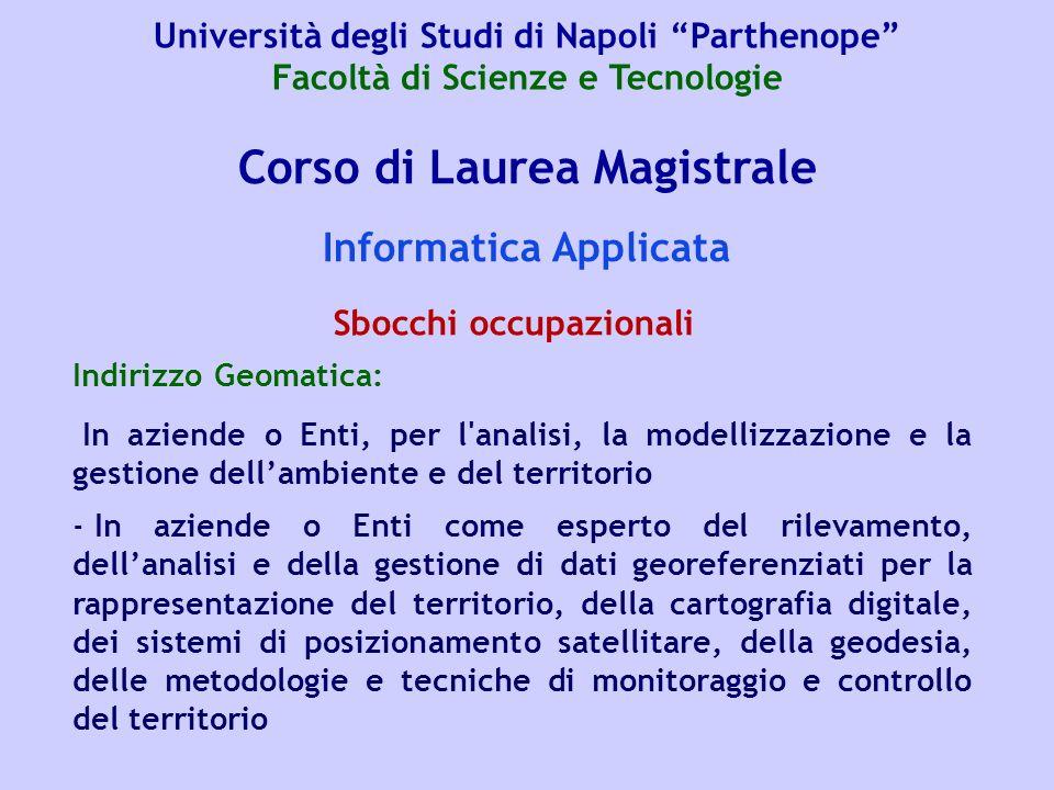 Corso di Laurea Magistrale Informatica Applicata Indirizzo Geomatica: In aziende o Enti, per l'analisi, la modellizzazione e la gestione dellambiente