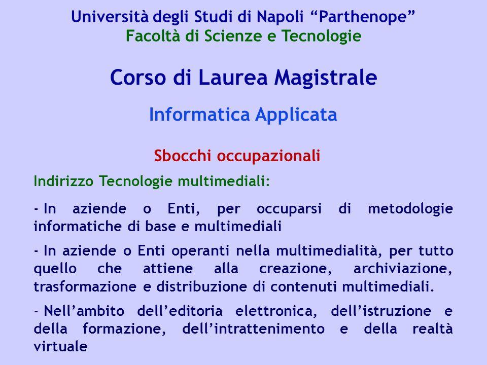 Corso di Laurea Magistrale Informatica Applicata Indirizzo Tecnologie multimediali: - In aziende o Enti, per occuparsi di metodologie informatiche di