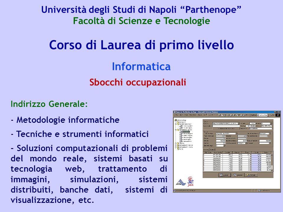 Corso di Laurea di primo livello Informatica Indirizzo Generale: - Metodologie informatiche - Tecniche e strumenti informatici - Soluzioni computazion
