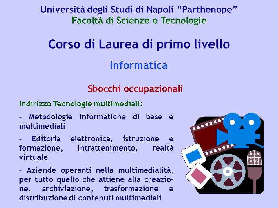 Corso di Laurea di primo livello Informatica Indirizzo Tecnologie multimediali: - Metodologie informatiche di base e multimediali - Editoria elettroni