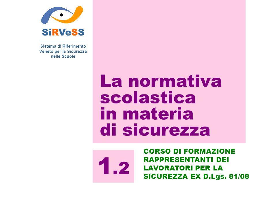 SiRVeSS Sistema di Riferimento Veneto per la Sicurezza nelle Scuole 1.2 CORSO DI FORMAZIONE RAPPRESENTANTI DEI LAVORATORI PER LA SICUREZZA EX D.Lgs. 8