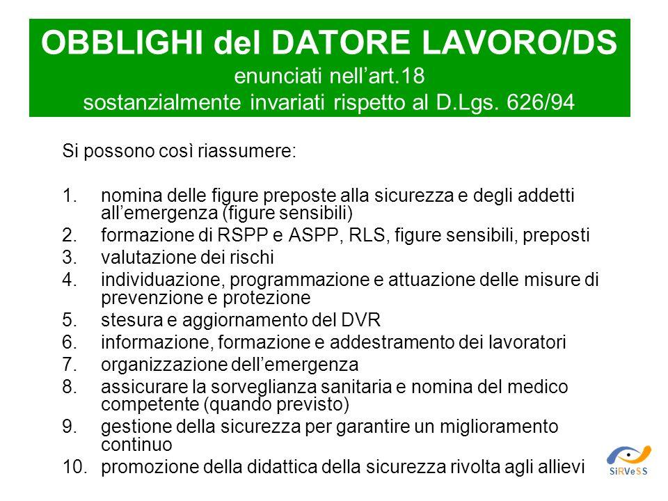OBBLIGHI del DATORE LAVORO/DS enunciati nellart.18 sostanzialmente invariati rispetto al D.Lgs. 626/94 Si possono così riassumere: 1.nomina delle figu