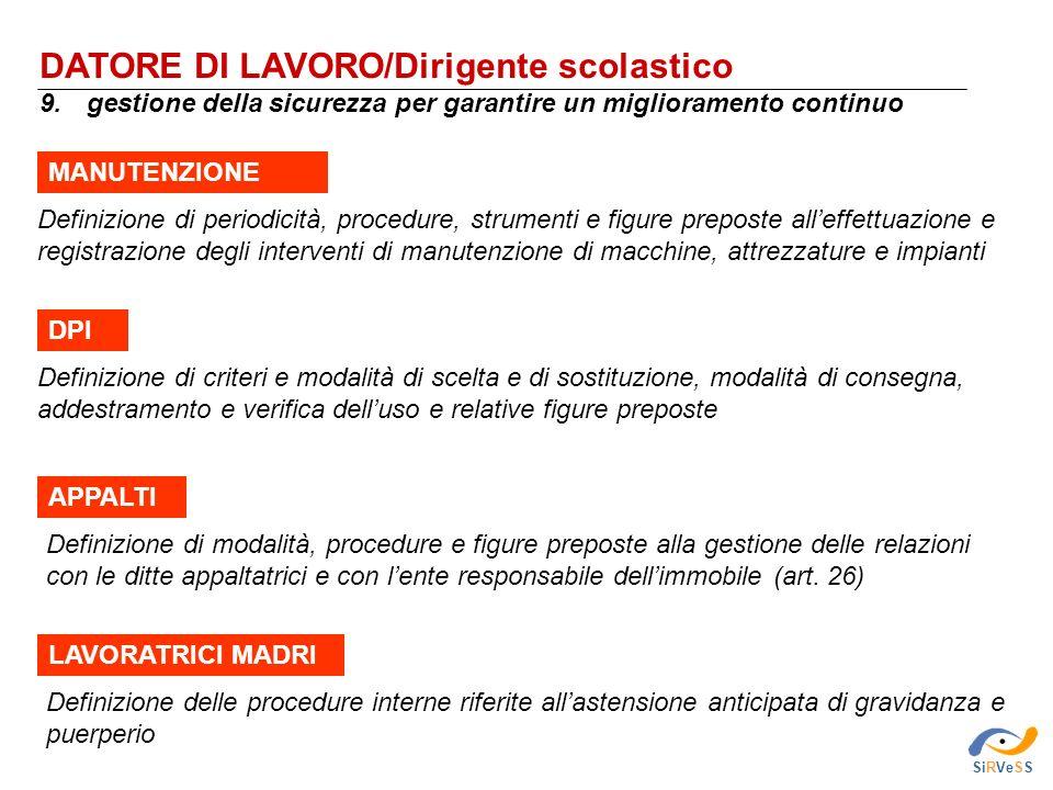 DATORE DI LAVORO/Dirigente scolastico 9. gestione della sicurezza per garantire un miglioramento continuo SiRVeSS Definizione delle procedure interne