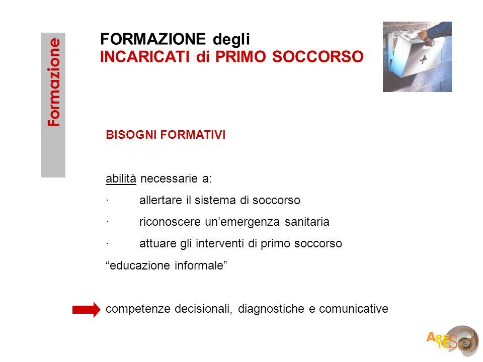 FORMAZIONE degli INCARICATI di PRIMO SOCCORSO Formazione BISOGNI FORMATIVI abilità necessarie a: · allertare il sistema di soccorso · riconoscere unem